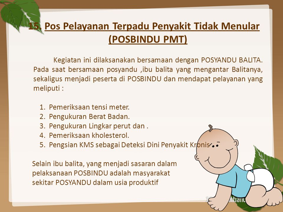 15. Pos Pelayanan Terpadu Penyakit Tidak Menular (POSBINDU PMT)
