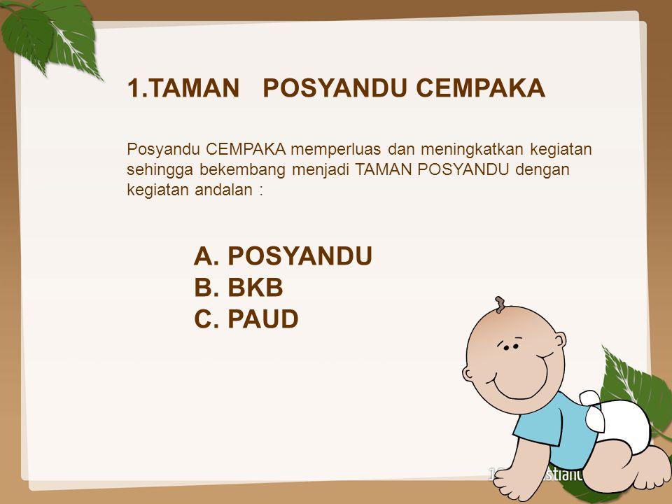 1.TAMAN POSYANDU CEMPAKA Posyandu CEMPAKA memperluas dan meningkatkan kegiatan sehingga bekembang menjadi TAMAN POSYANDU dengan kegiatan andalan :