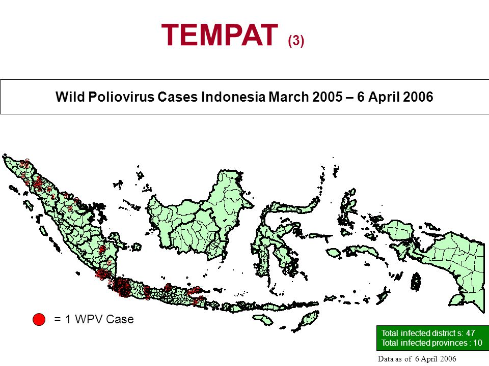Wild Poliovirus Cases Indonesia March 2005 – 6 April 2006