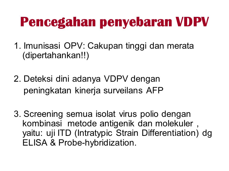 Pencegahan penyebaran VDPV