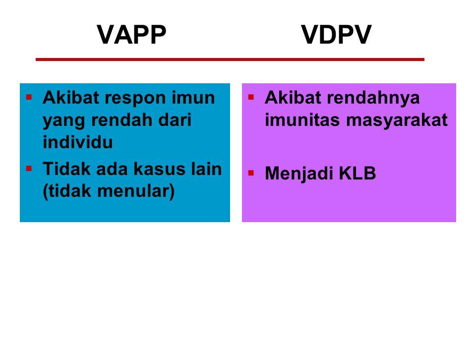VAPP VDPV Akibat respon imun yang rendah dari individu