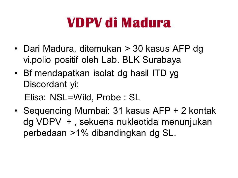 VDPV di Madura Dari Madura, ditemukan > 30 kasus AFP dg vi.polio positif oleh Lab. BLK Surabaya.