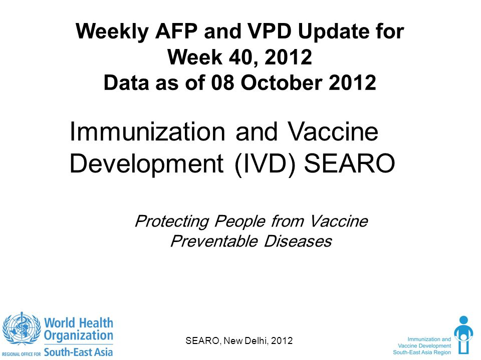 Weekly AFP and VPD Update for Week 40, 2012 Data as of 08 October 2012