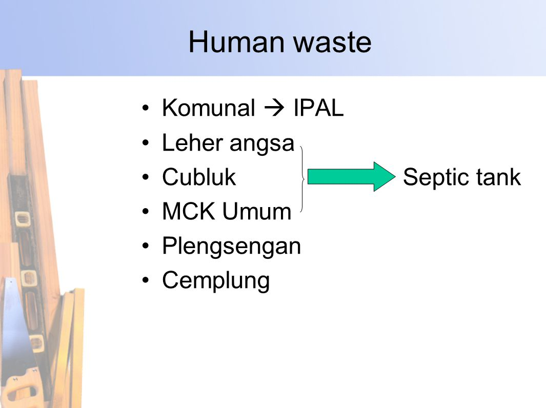 Human waste Komunal  IPAL Leher angsa Cubluk Septic tank MCK Umum