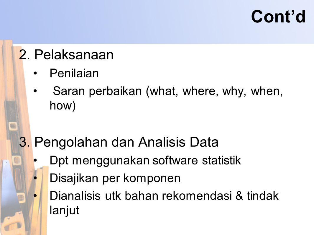 Cont'd 2. Pelaksanaan 3. Pengolahan dan Analisis Data Penilaian