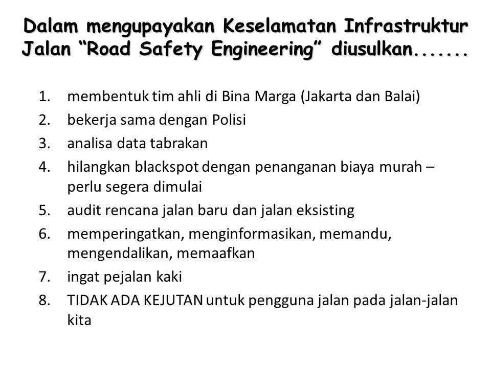 Dalam mengupayakan Keselamatan Infrastruktur Jalan Road Safety Engineering diusulkan.......