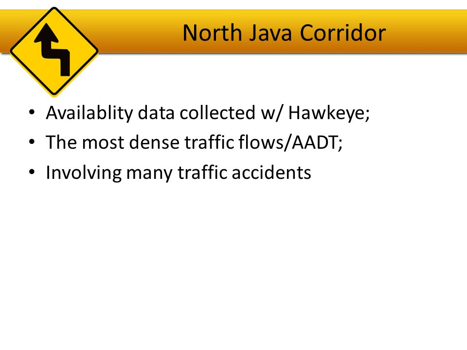 North Java Corridor Availablity data collected w/ Hawkeye;