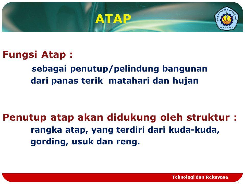 ATAP Fungsi Atap : sebagai penutup/pelindung bangunan