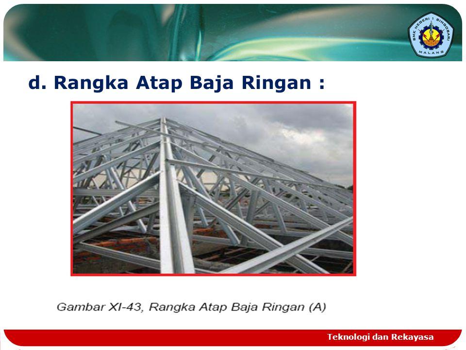 d. Rangka Atap Baja Ringan :