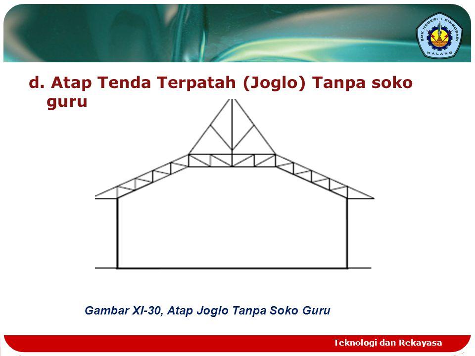 d. Atap Tenda Terpatah (Joglo) Tanpa soko guru