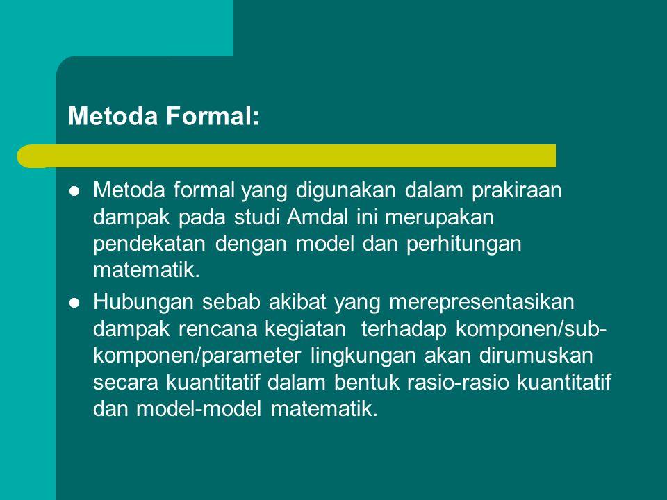 Metoda Formal: Metoda formal yang digunakan dalam prakiraan dampak pada studi Amdal ini merupakan pendekatan dengan model dan perhitungan matematik.
