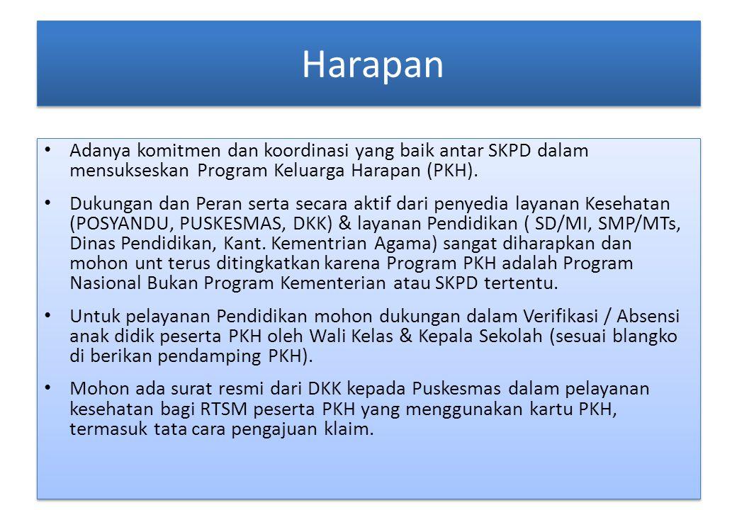 Harapan Adanya komitmen dan koordinasi yang baik antar SKPD dalam mensukseskan Program Keluarga Harapan (PKH).
