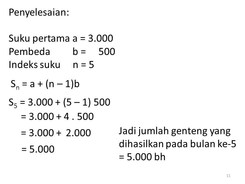 Penyelesaian: Suku pertama a = 3.000. Pembeda b = 500. Indeks suku n = 5. Sn = a + (n – 1)b.