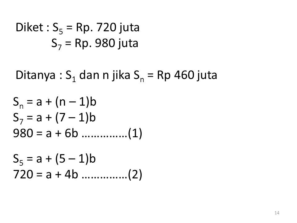 Diket : S5 = Rp. 720 juta S7 = Rp. 980 juta. Ditanya : S1 dan n jika Sn = Rp 460 juta. Sn = a + (n – 1)b.