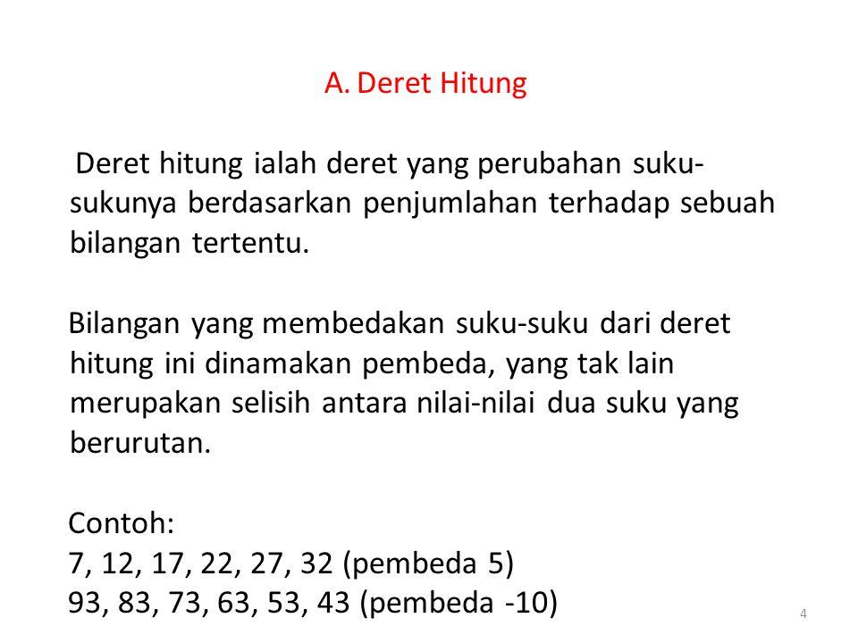 Deret Hitung Deret hitung ialah deret yang perubahan suku-sukunya berdasarkan penjumlahan terhadap sebuah bilangan tertentu.