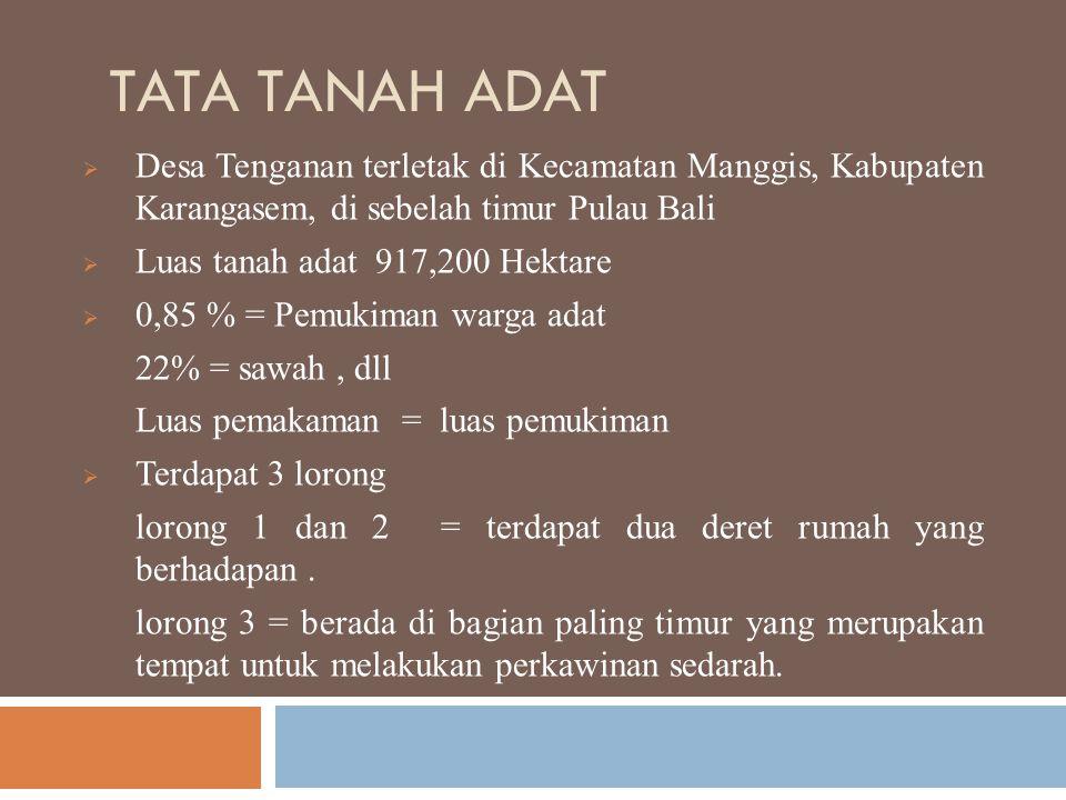 Tata Tanah Adat Desa Tenganan terletak di Kecamatan Manggis, Kabupaten Karangasem, di sebelah timur Pulau Bali.