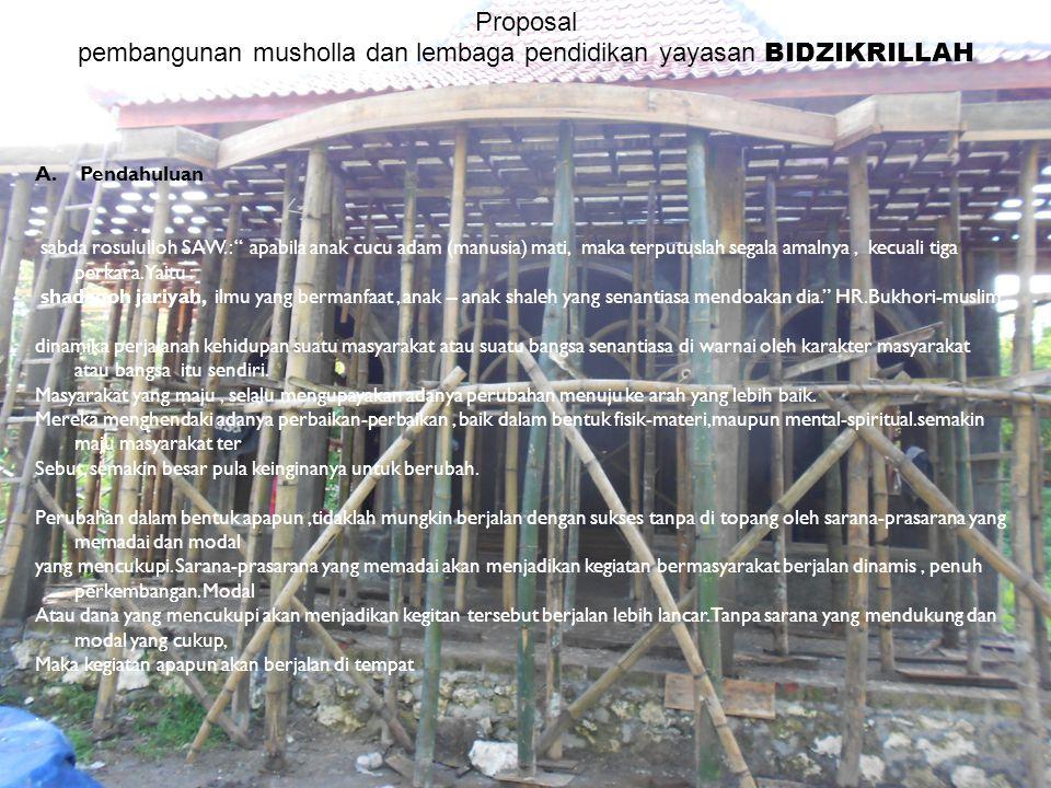 Proposal pembangunan dan majelis takllim bidzikrillah