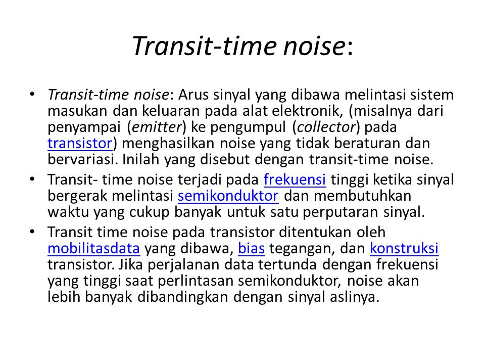 Transit-time noise: