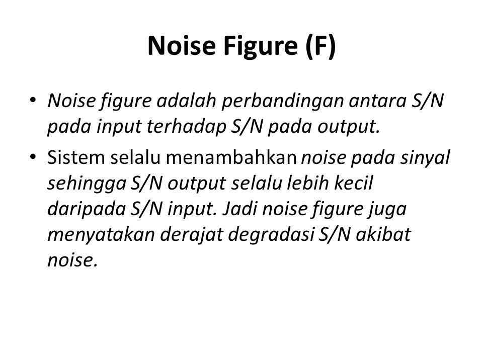 Noise Figure (F) Noise figure adalah perbandingan antara S/N pada input terhadap S/N pada output.