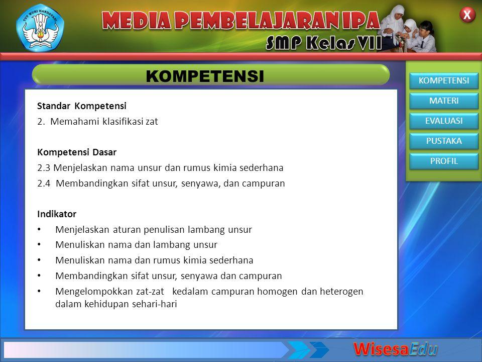 WisesaEdu KOMPETENSI Standar Kompetensi 2. Memahami klasifikasi zat