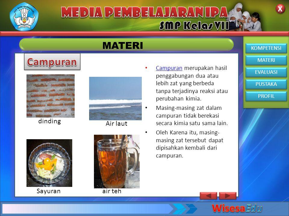 Campuran WisesaEdu MATERI dinding Air laut Sayuran air teh