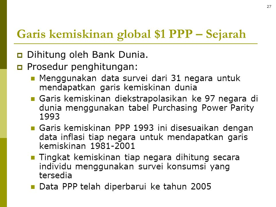 Garis kemiskinan global $1 PPP – Sejarah