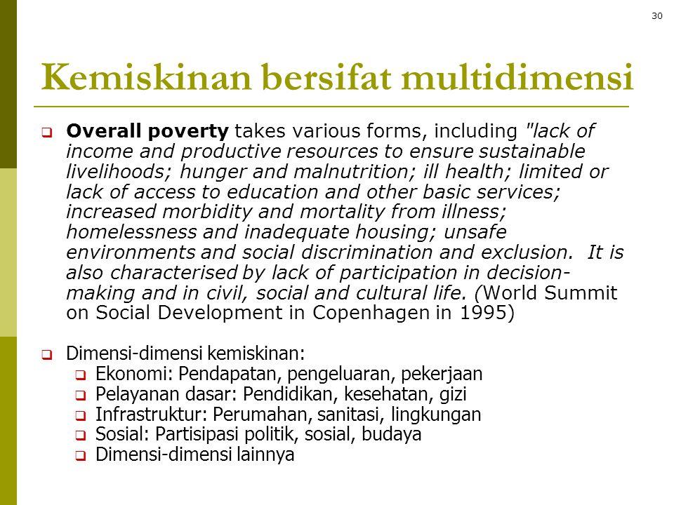 Kemiskinan bersifat multidimensi