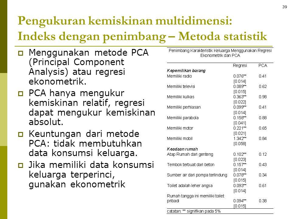 Pengukuran kemiskinan multidimensi: Indeks dengan penimbang – Metoda statistik