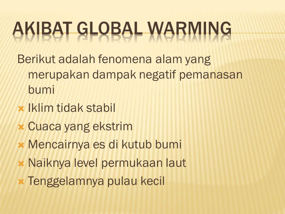 Akibat global warming Berikut adalah fenomena alam yang merupakan dampak negatif pemanasan bumi. Iklim tidak stabil.