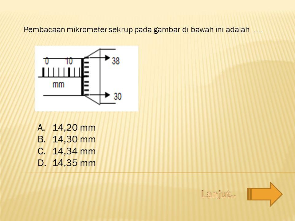 Pembacaan mikrometer sekrup pada gambar di bawah ini adalah ....