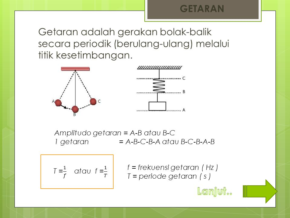 GETARAN Getaran adalah gerakan bolak-balik secara periodik (berulang-ulang) melalui titik kesetimbangan.