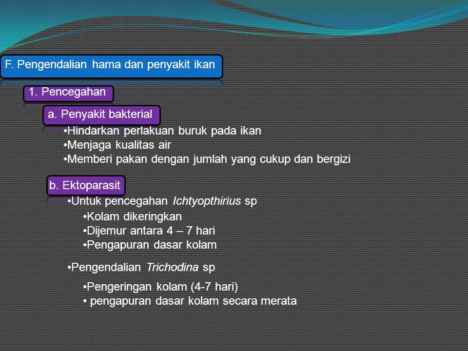 F. Pengendalian hama dan penyakit ikan