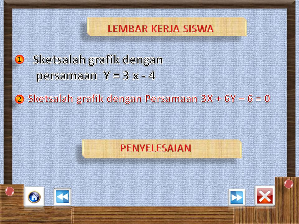 Sketsalah grafik dengan persamaan Y = 3 x - 4