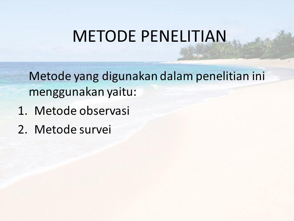 METODE PENELITIAN Metode yang digunakan dalam penelitian ini menggunakan yaitu: Metode observasi.