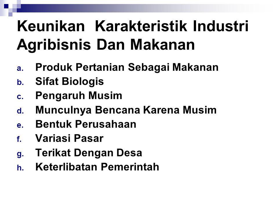 Keunikan Karakteristik Industri Agribisnis Dan Makanan