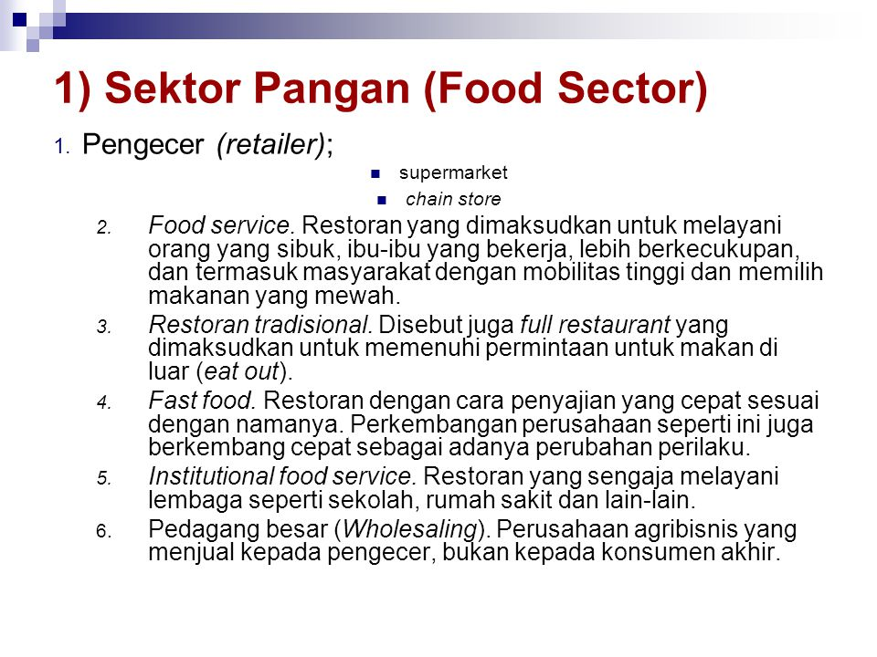 1) Sektor Pangan (Food Sector)