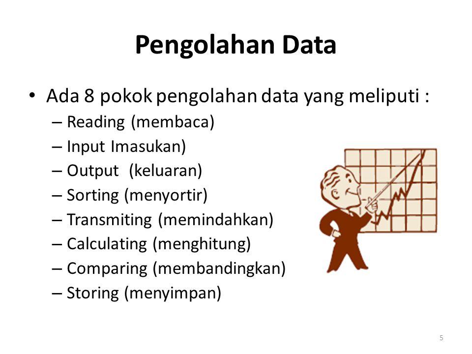 Pengolahan Data Ada 8 pokok pengolahan data yang meliputi :