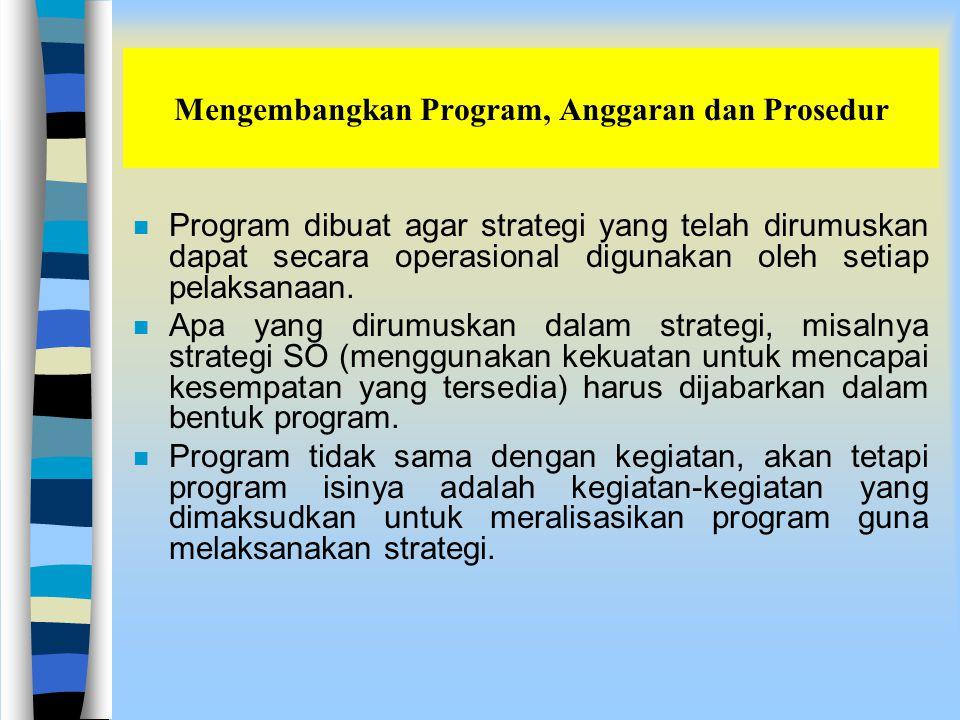Mengembangkan Program, Anggaran dan Prosedur