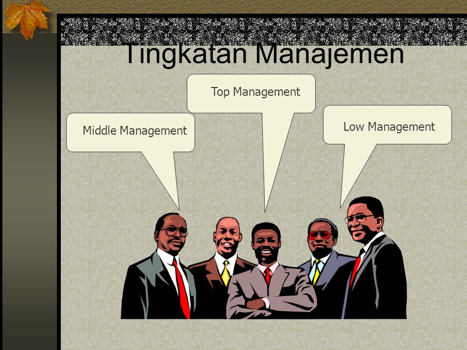 Tingkatan Manajemen Top Management Low Management Middle Management