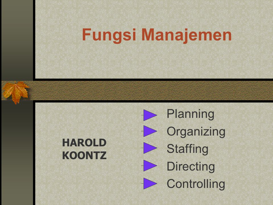 Planning Organizing Staffing Directing Controlling