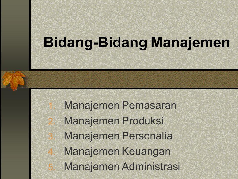 Bidang-Bidang Manajemen