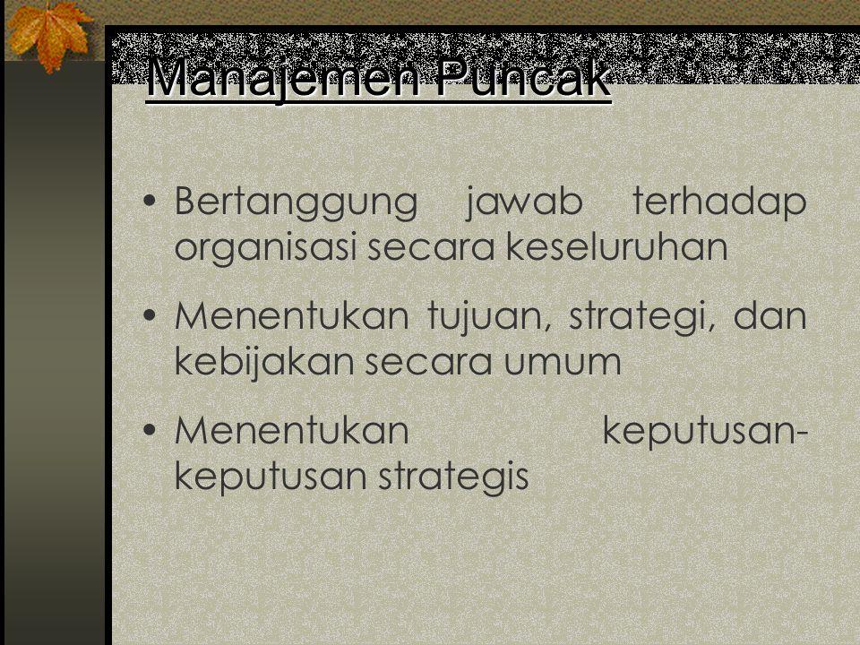 Manajemen Puncak Bertanggung jawab terhadap organisasi secara keseluruhan. Menentukan tujuan, strategi, dan kebijakan secara umum.