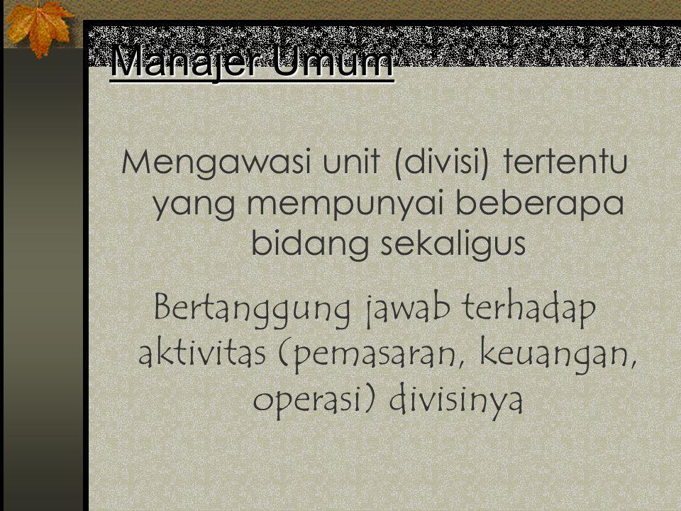 Manajer Umum Mengawasi unit (divisi) tertentu yang mempunyai beberapa bidang sekaligus.