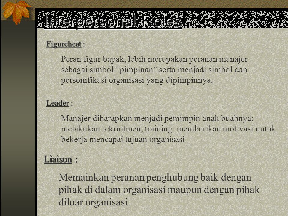 Interpersonal Roles Liaison :