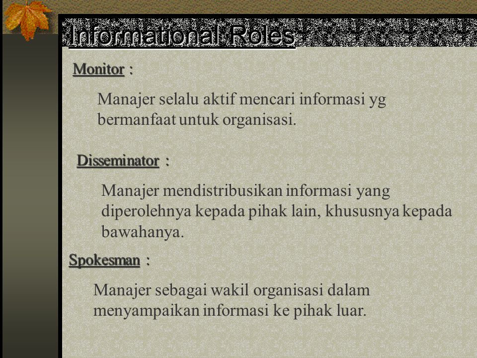 Informational Roles Monitor :