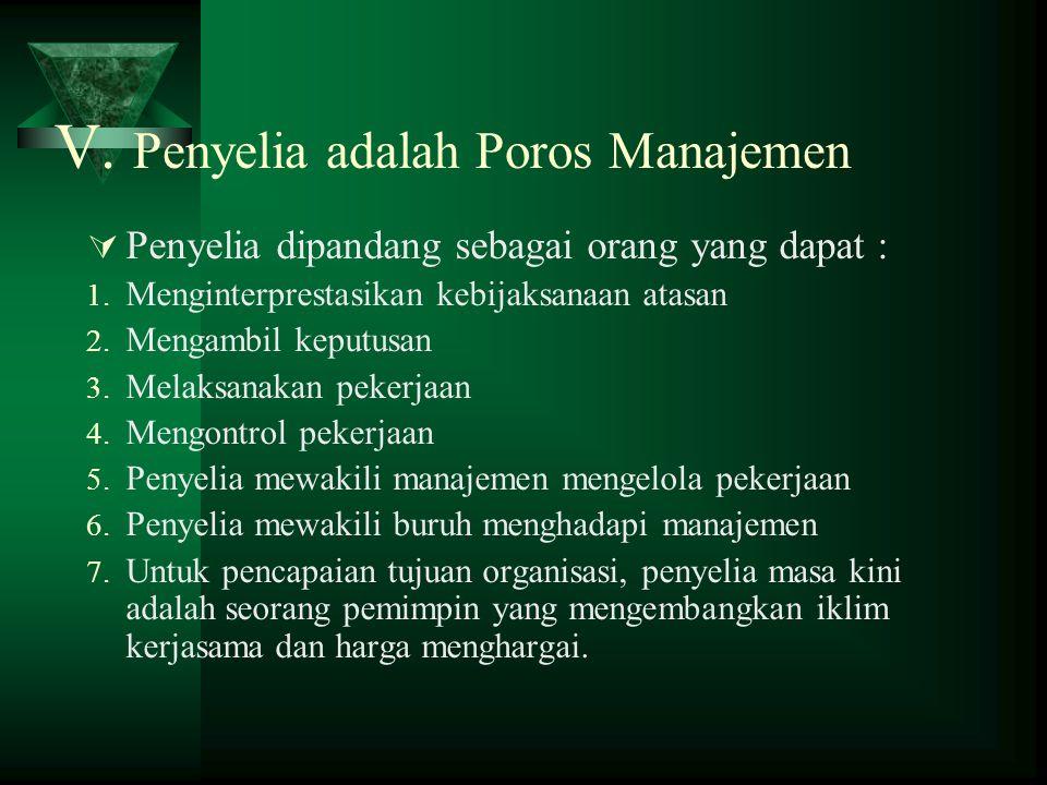 V. Penyelia adalah Poros Manajemen