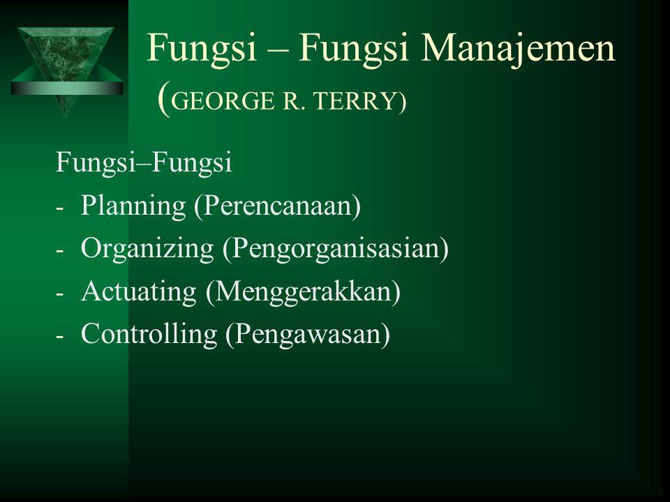 Fungsi – Fungsi Manajemen (GEORGE R. TERRY)