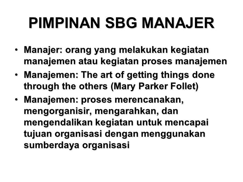 PIMPINAN SBG MANAJER Manajer: orang yang melakukan kegiatan manajemen atau kegiatan proses manajemen.