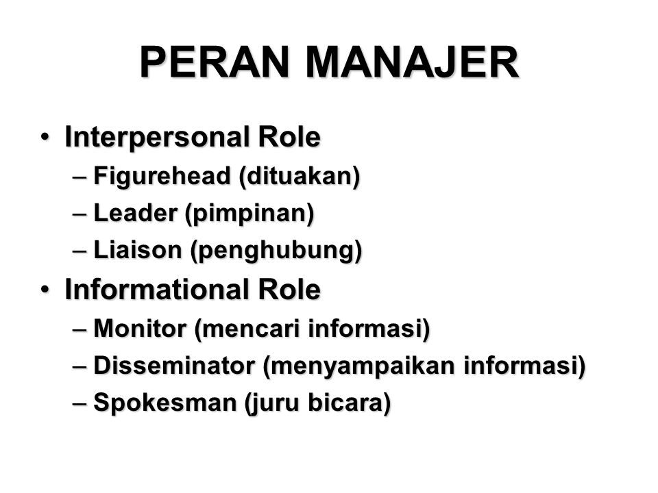 PERAN MANAJER Interpersonal Role Informational Role