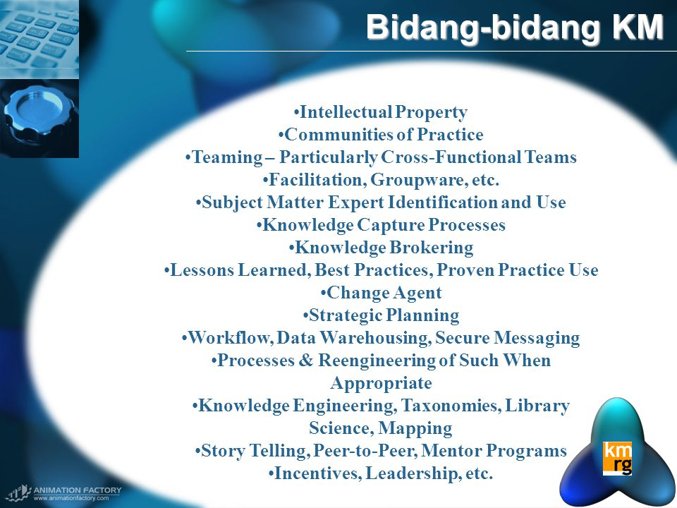 Bidang-bidang KM Intellectual Property Communities of Practice